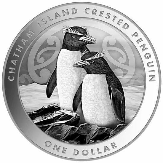 2020 New Zealand Chatham Island Crested Penguin 1oz .999 Silver Bullion Coin 1
