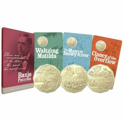 2020 50c Banjo Paterson - Treasured Australian Poetry Uncirculated Three Coin Set - AlBr 1