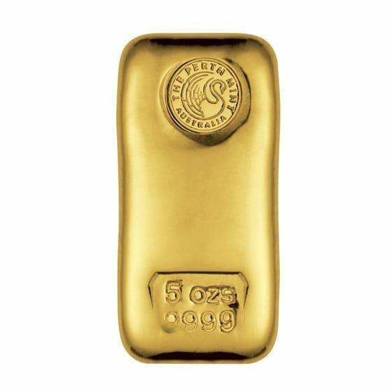 Perth Mint 5oz .9999 Gold Cast Bullion Bar 1