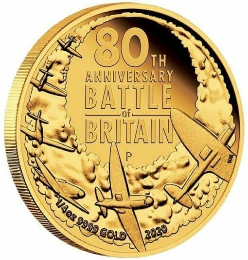 2020 80th Anniversary of The Battle of Britain 1/4oz .9999 Gold Proof Coin 2
