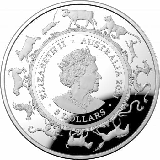 2021 $5 Lunar Year of the Ox 1oz .999 Silver Proof Domed Coin 3