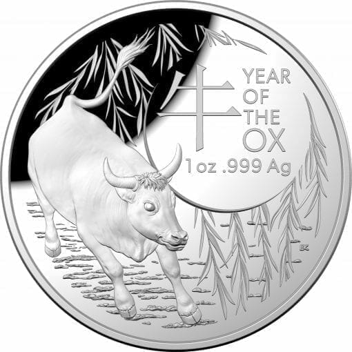 2021 $5 Lunar Year of the Ox 1oz .999 Silver Proof Domed Coin 1