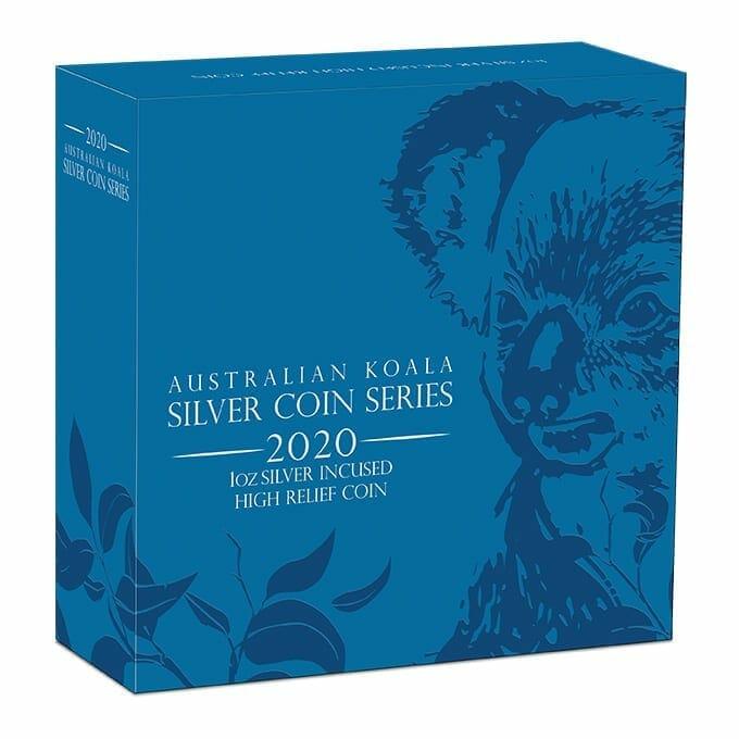 2020 Australian Koala 1oz .9999 Silver Incused High Relief Coin 5