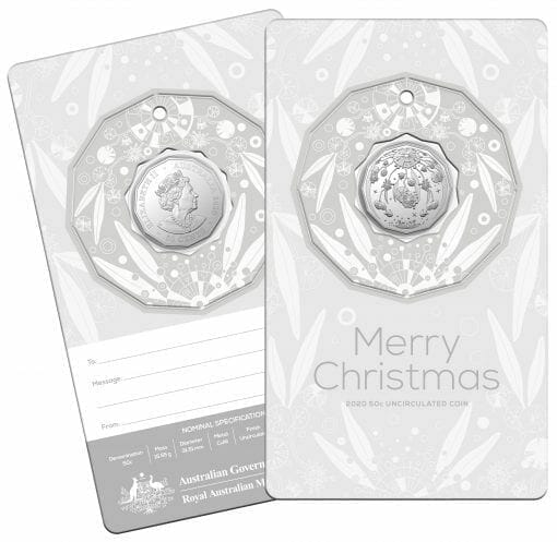 2020 50c Christmas Coin Decoration in Pop-Out Card - Pack of 5 - CuNi 8