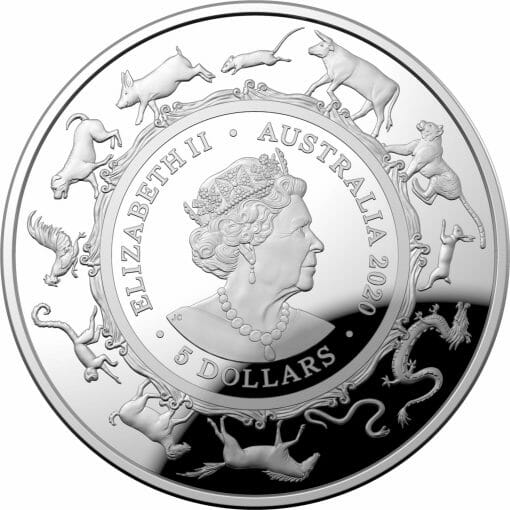 2020 $5 Lunar Year of the Rat 1oz .999 Silver Proof Domed Coin 3
