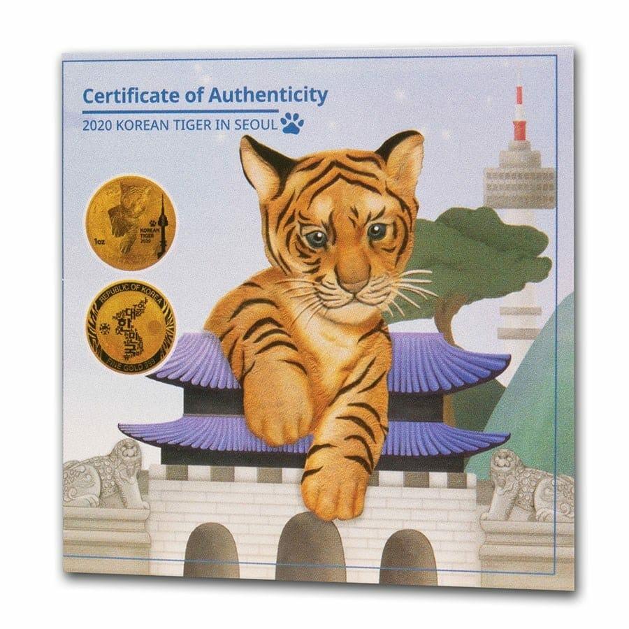 2020 South Korean Tiger 1oz .999 Gold Round 3