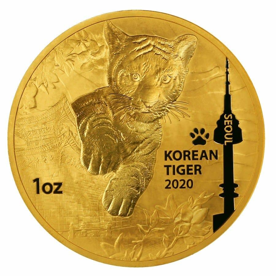 2020 South Korean Tiger 1oz .999 Gold Round 1