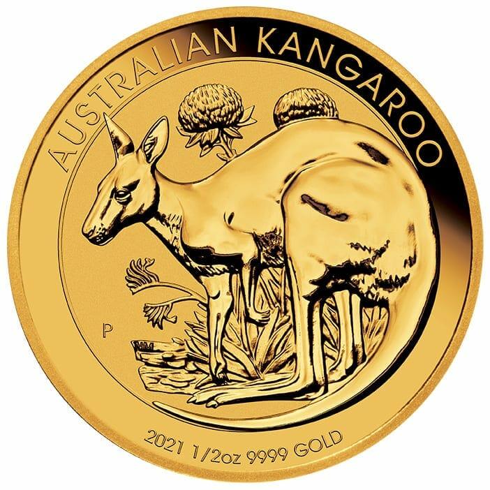 2021 Australian Kangaroo 1/2oz .9999 Gold Bullion Coin 1