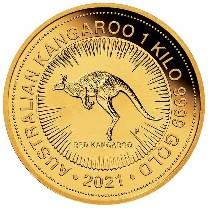 2021 Australian Kangaroo 1kg .9999 Gold Bullion Coin - 1 Kilo 1