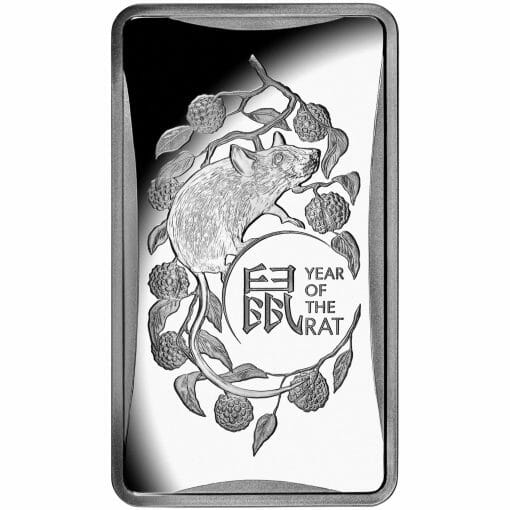 2020 $1 Year of the Rat 1/2oz .999 Silver Frosted Ingot 1