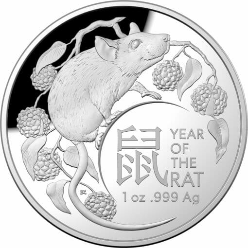 2020 $5 Lunar Year of the Rat 1oz .999 Silver Proof Domed Coin 1