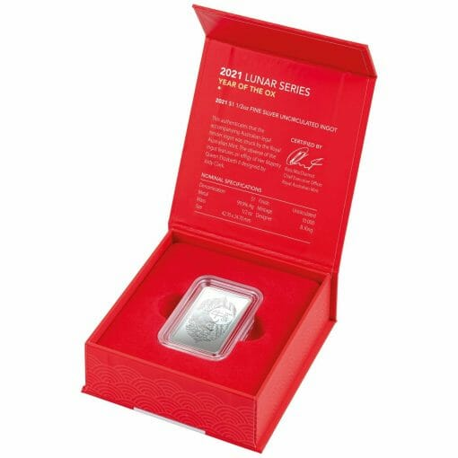 2021 $1 Year of the Ox 1/2oz .999 Silver Frosted Ingot 3