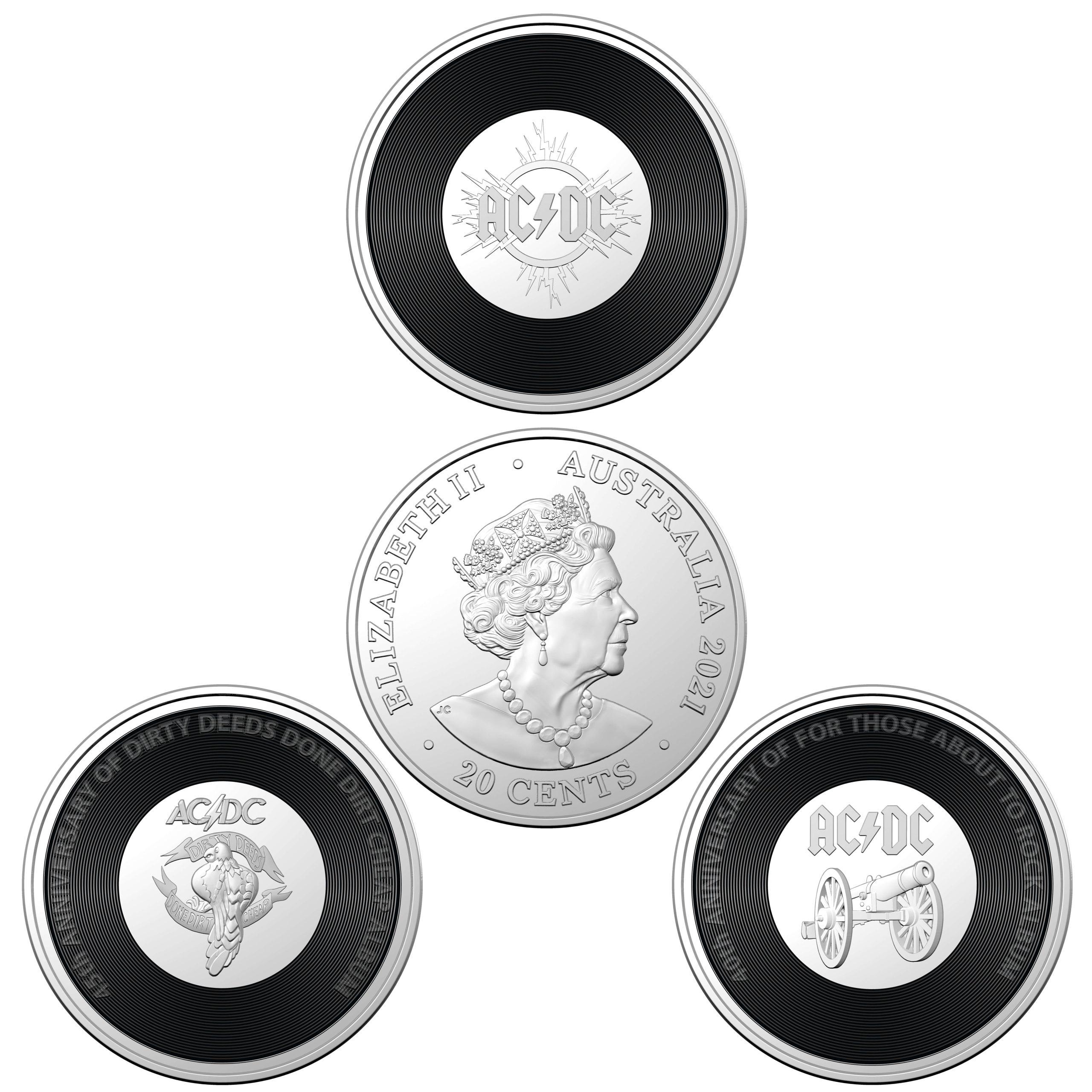 2020/2021 - AC/DC Seven Coin Collection - 20c Coloured CuNi Unc Coins 7