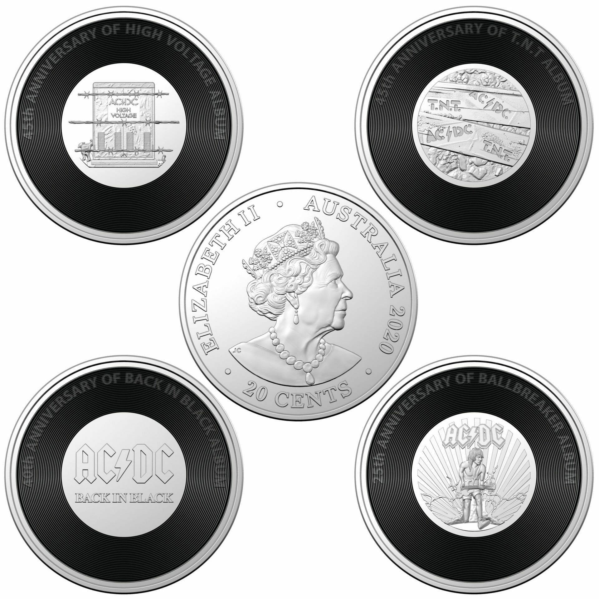 BACK IN BLACK 2020 AC//DC 20c Coloured Uncirculated Coin in Card