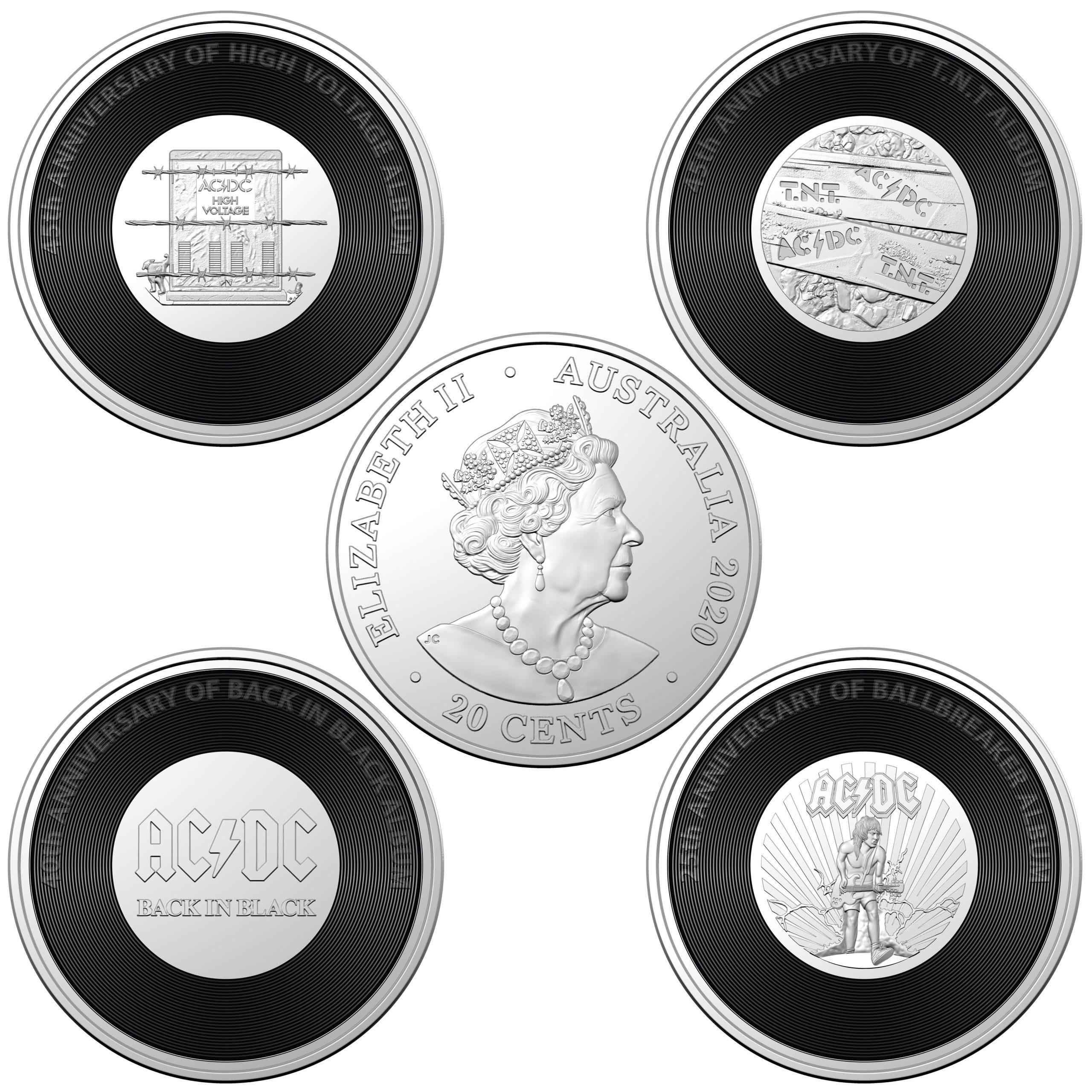 2020/2021 - AC/DC Seven Coin Collection - 20c Coloured CuNi Unc Coins 6