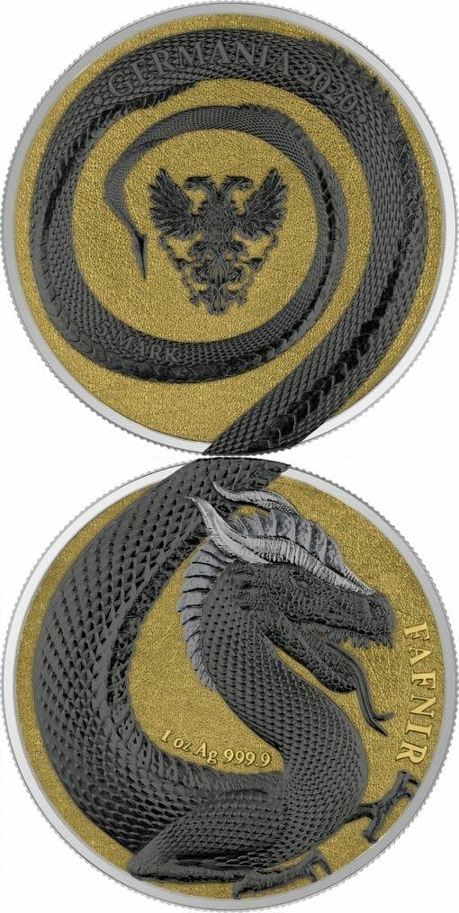 2020 Germania Beasts – Fafnir Geminus 1oz .9999 Silver 2 Coin Set 9