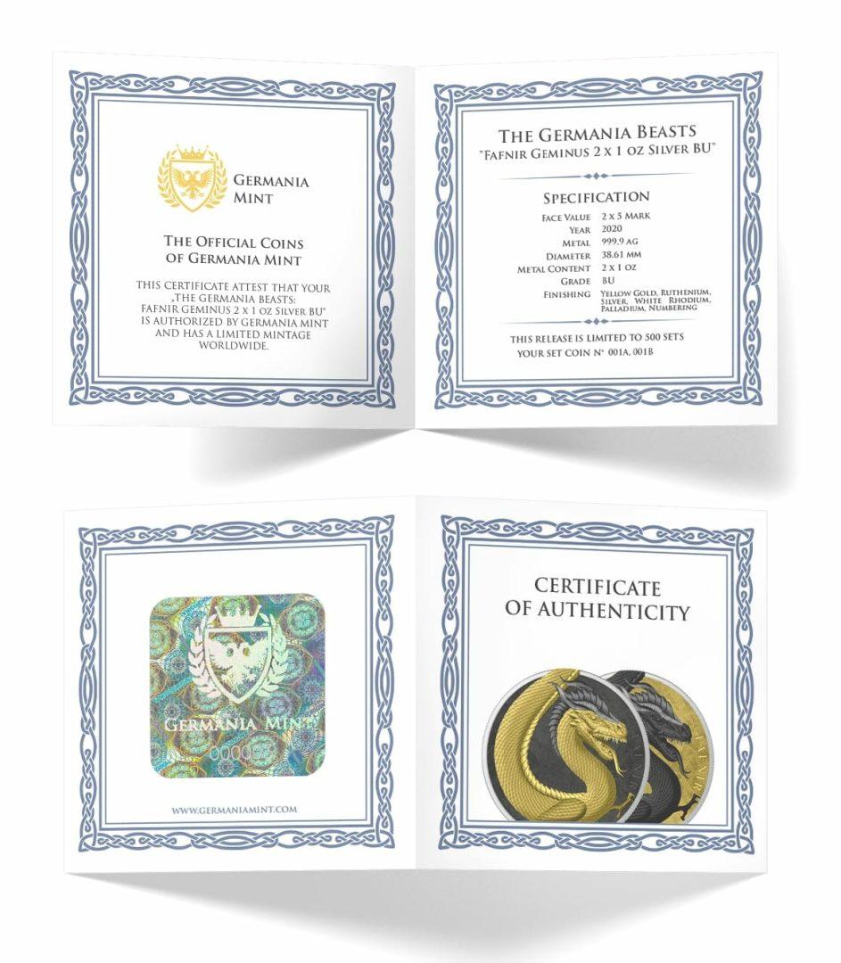 2020 Germania Beasts – Fafnir Geminus 1oz .9999 Silver 2 Coin Set 10