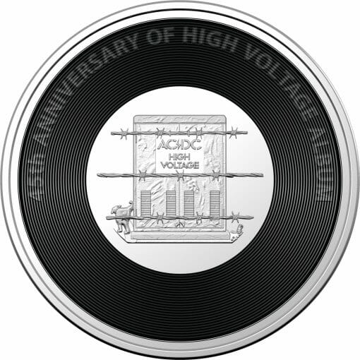 2020 20c AC/DC 45th Anniversary of High Voltage Coloured Uncirculated Coin 1