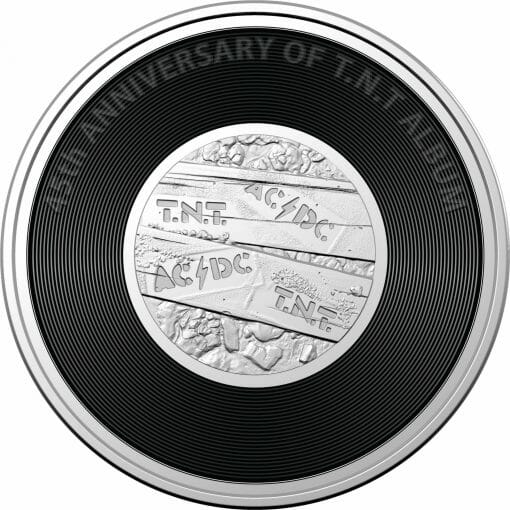 2020 20c AC/DC 45th Anniversary of T.N.T Album Coloured Uncirculated Coin 1