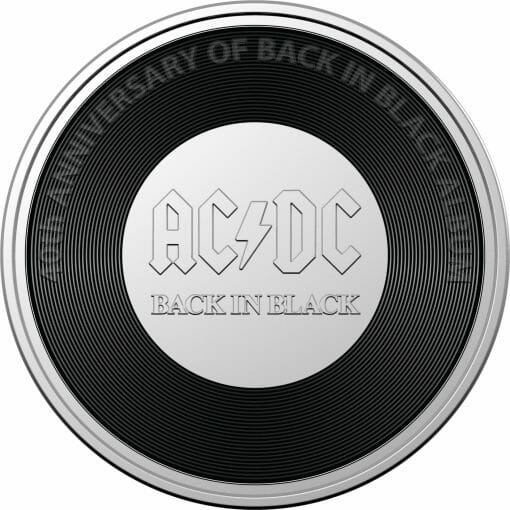 2020 20c AC/DC 40th Anniversary of Back in Black Coloured Uncirculated Coin 1