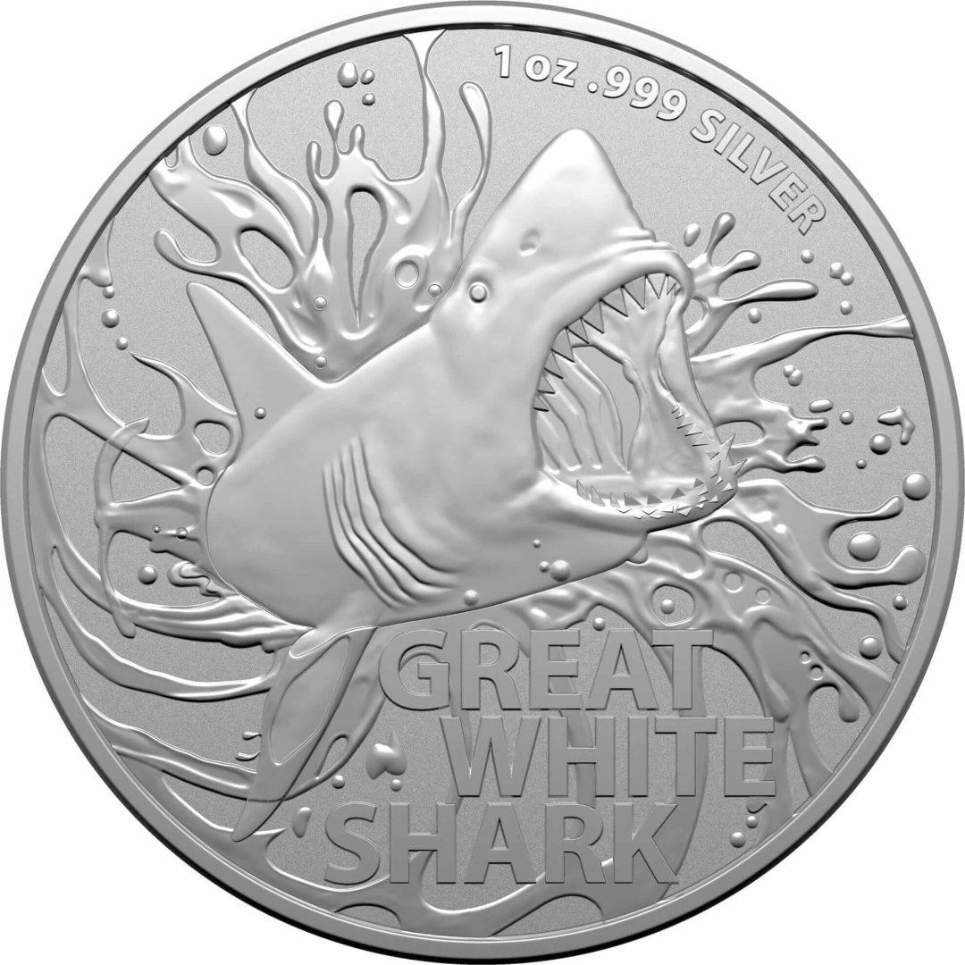 2021 Great White Shark 1oz .999 Silver Bullion Coin 1