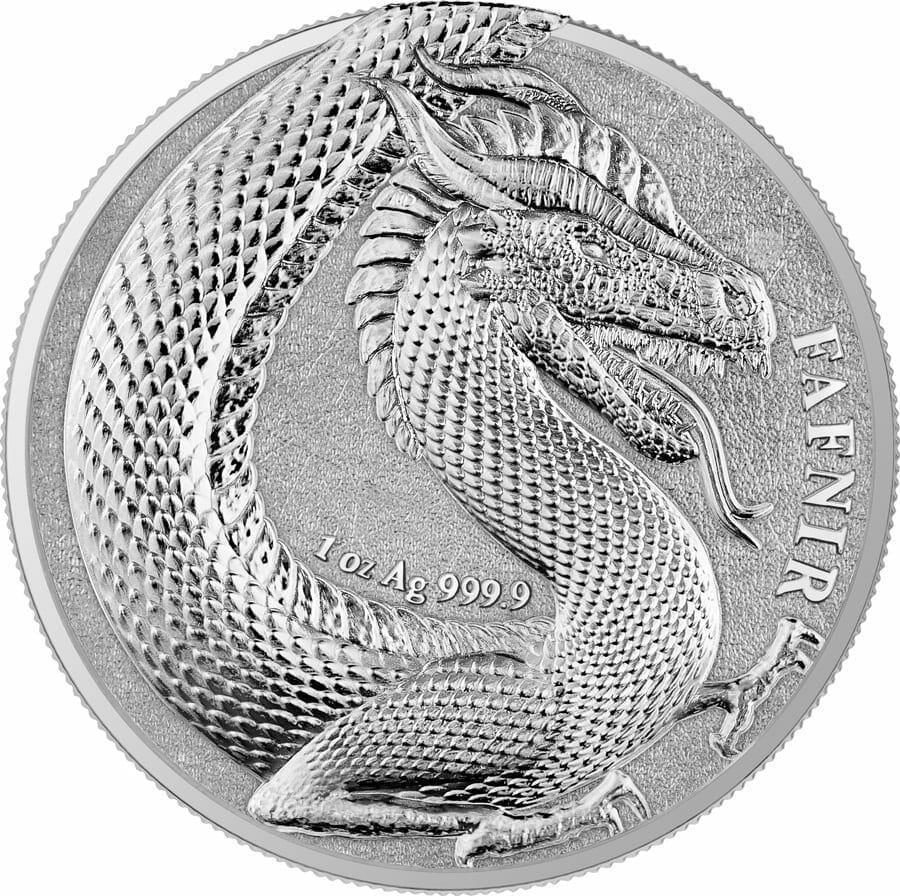 2020 Germania Beasts - Fafnir 1oz .9999 Silver Bullion 2 Coin Set in Capsule 2