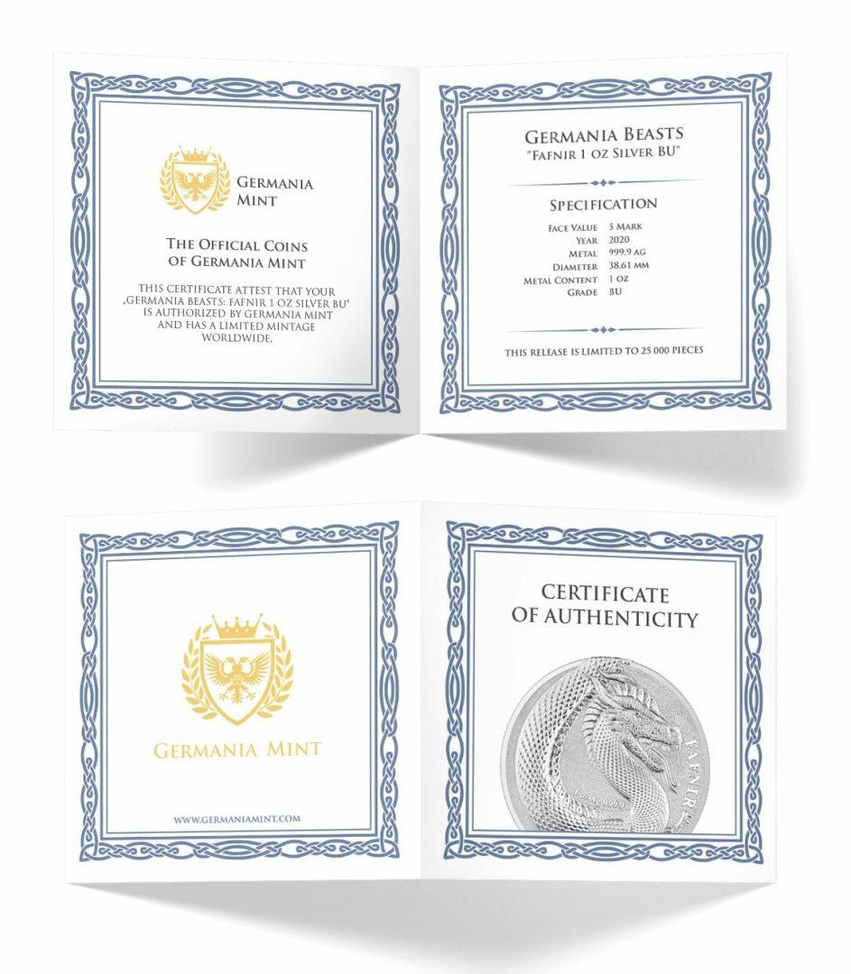 2020 Germania Beasts - Fafnir 1oz .9999 Silver Bullion 2 Coin Set in Capsule 4