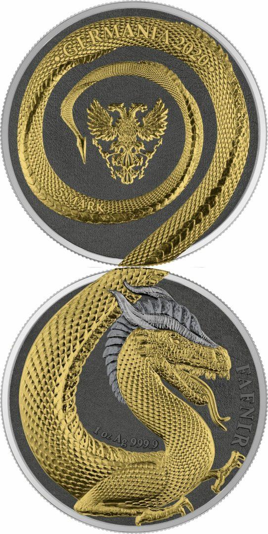 2020 Germania Beasts – Fafnir Geminus 1oz .9999 Silver 2 Coin Set 8