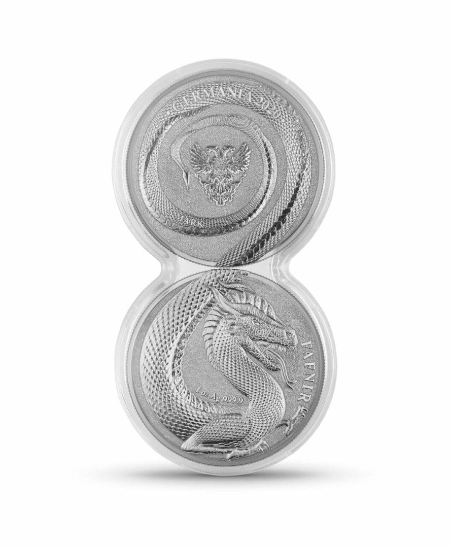 2020 Germania Beasts - Fafnir 1oz .9999 Silver Bullion 2 Coin Set in Capsule 1