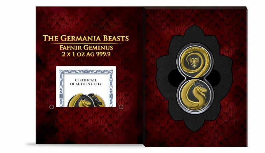 2020 Germania Beasts – Fafnir Geminus 1oz .9999 Silver 2 Coin Set 11