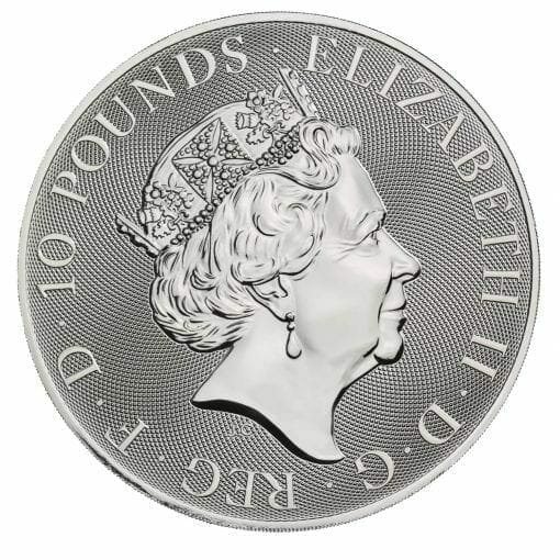 2021 The Queen's Beasts - The White Lion of Mortimer 10oz .9999 Silver Bullion Coin 4