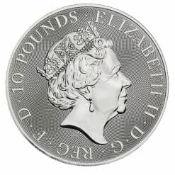 2021 The Queen's Beasts - The White Lion of Mortimer 10oz .9999 Silver Bullion Coin 7