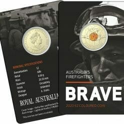 """2020 $2 Firefighters Coin in Card Two Pack - """"C"""" Mintmark & No Mintmark Coins 11"""