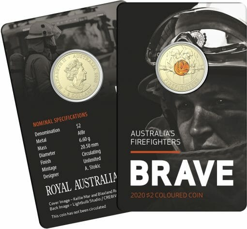 """2020 $2 Firefighters Coin in Card Two Pack - """"C"""" Mintmark & No Mintmark Coins 5"""