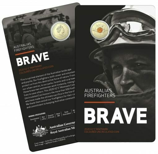 """2020 $2 Firefighters Coin in Card Two Pack - """"C"""" Mintmark & No Mintmark Coins 2"""