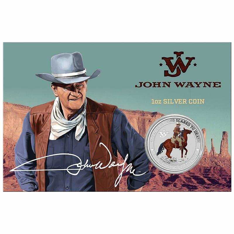 2021 John Wayne 1oz .9999 Silver Coloured Coin in Card 1