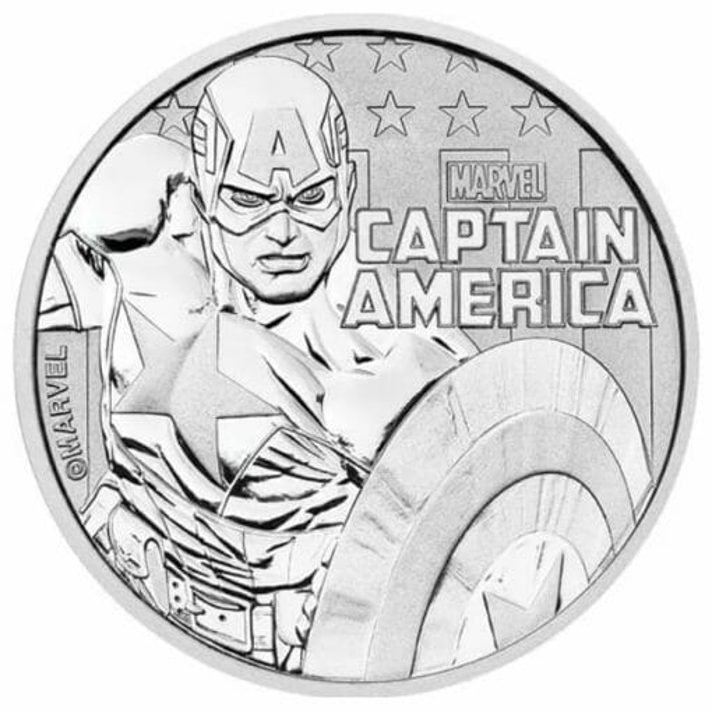 2019 Marvel Series - Captain America - 1oz .9999 Silver Bullion Coin 1