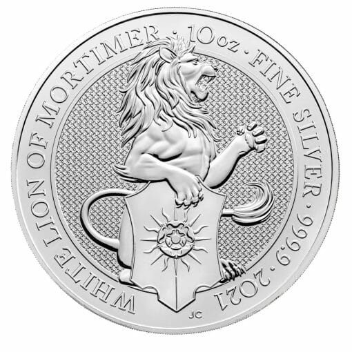 2021 The Queen's Beasts - The White Lion of Mortimer 10oz .9999 Silver Bullion Coin 1
