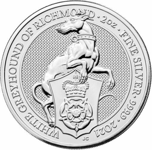 2021 The Queen's Beasts – The White Greyhound of Richmond 2oz .9999 Silver Bullion Coin 1