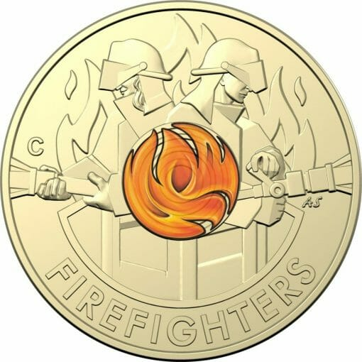 """2020 $2 Firefighters Coin in Card Two Pack - """"C"""" Mintmark & No Mintmark Coins 3"""