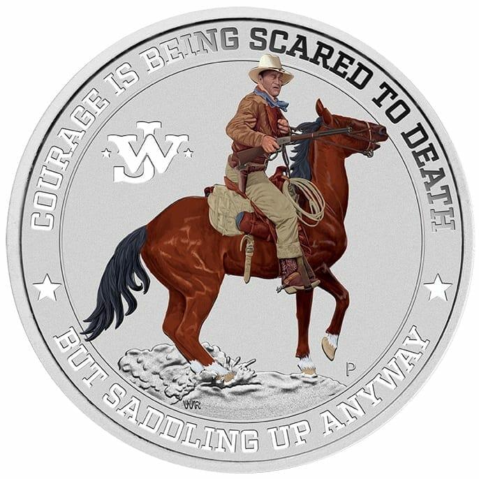 2021 John Wayne 1oz .9999 Silver Coloured Coin in Card 5