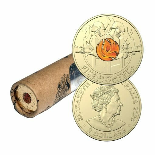 2020 $2 Australia's Firefighters Coloured Coins in Mint Roll - AlBr 1
