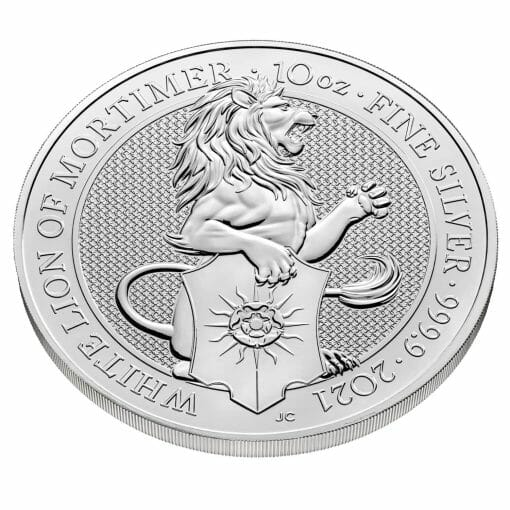 2021 The Queen's Beasts - The White Lion of Mortimer 10oz .9999 Silver Bullion Coin 2