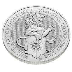 2021 The Queen's Beasts - The White Lion of Mortimer 10oz .9999 Silver Bullion Coin 5