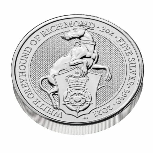 2021 The Queen's Beasts – The White Greyhound of Richmond 2oz .9999 Silver Bullion Coin 2