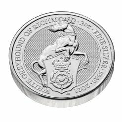 2021 The Queen's Beasts – The White Greyhound of Richmond 2oz .9999 Silver Bullion Coin 6
