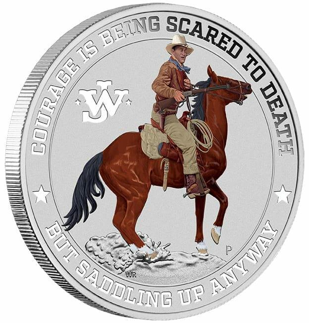 2021 John Wayne 1oz .9999 Silver Coloured Coin in Card 3