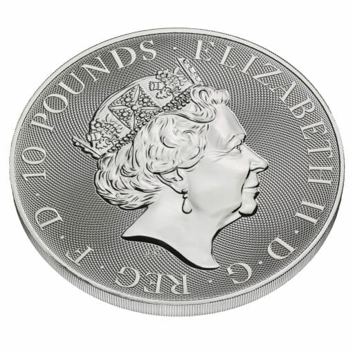 2021 The Queen's Beasts - The White Lion of Mortimer 10oz .9999 Silver Bullion Coin 3