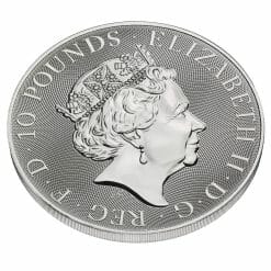 2021 The Queen's Beasts - The White Lion of Mortimer 10oz .9999 Silver Bullion Coin 6