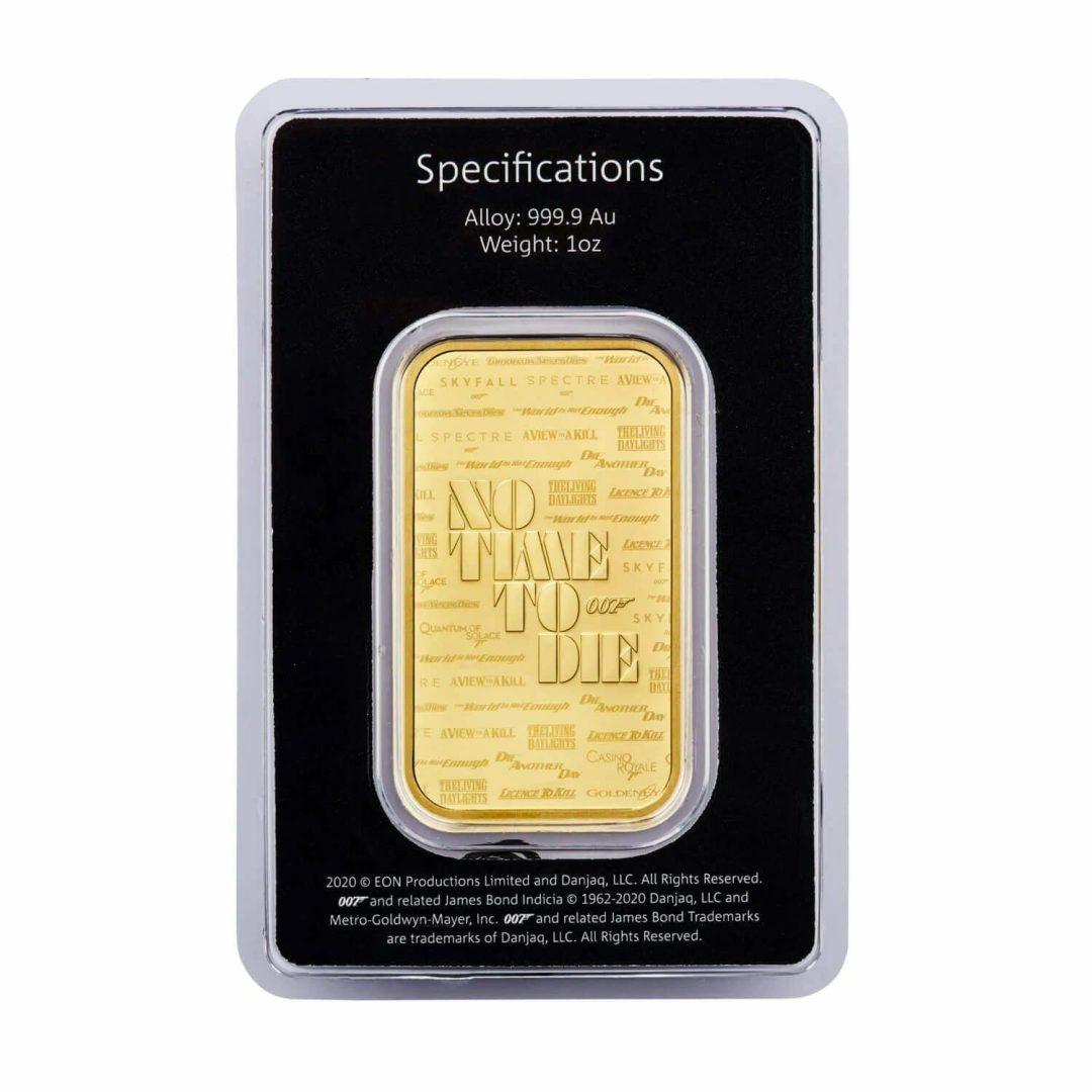 2020 007 James Bond - No Time To Die 1oz .9999 Gold Bullion Bar 2